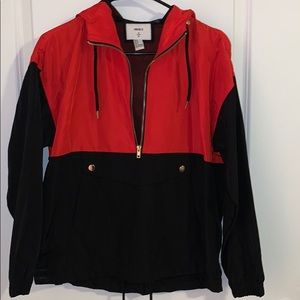 Red and black Forever 21 Anorak half zip pullover